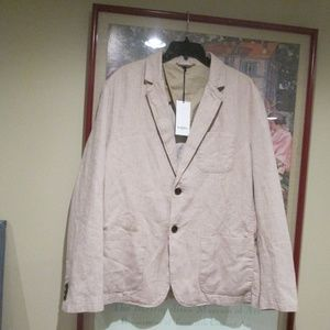 NWT Light Taupe Blazer Jacket linen Blend NEW